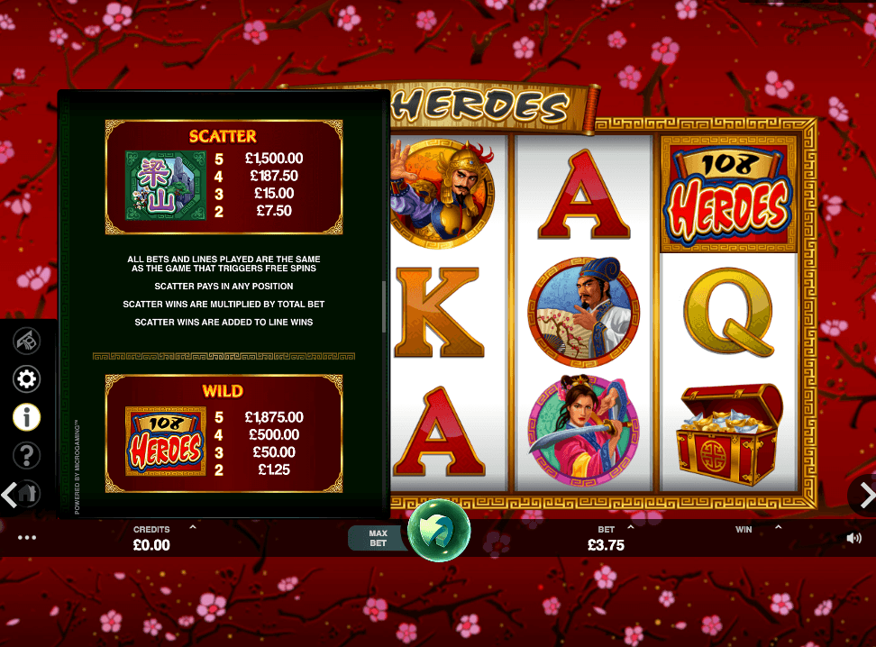 108 Heroes Slot paytable