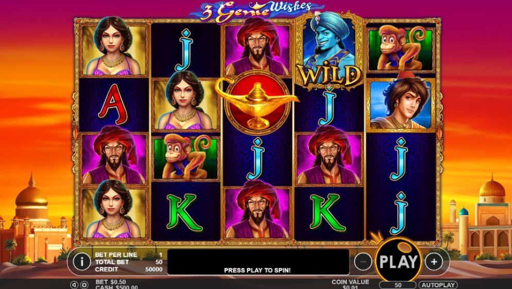3 Genie Wishes slot gameplay