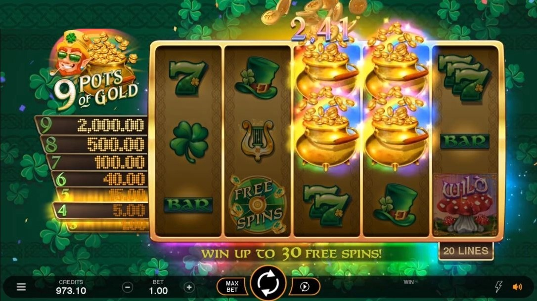 9 Pots of Gold Slots UK Game Play