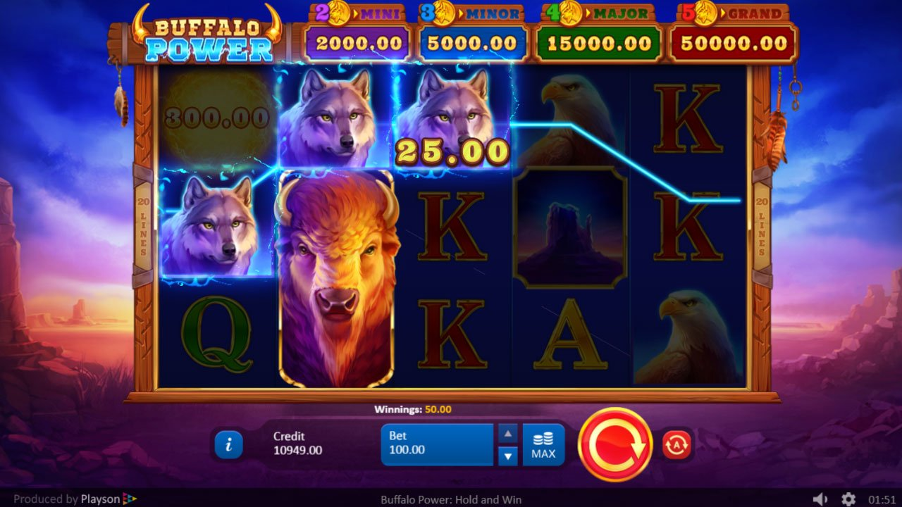 Buffalo Power Hold and Win Slot Win