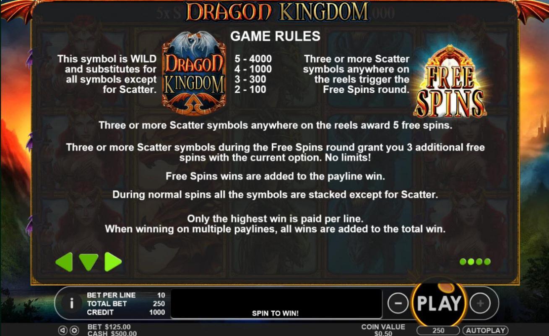 Dragon Kingdom Slot Rules