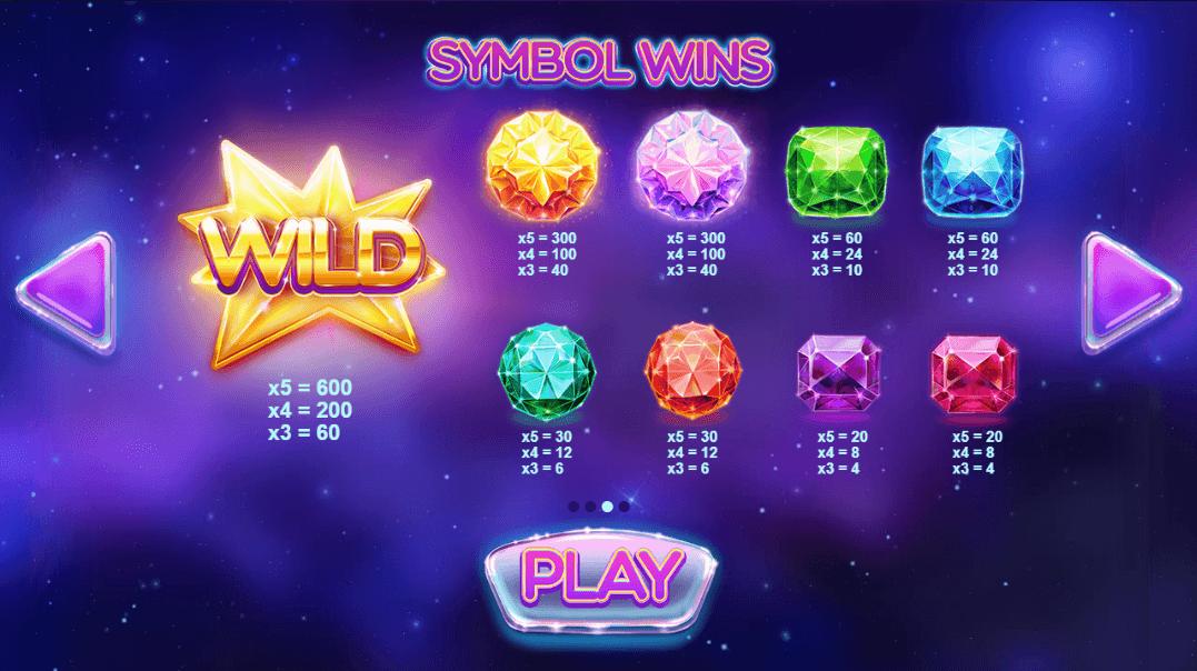 Gems Gone Wild Slots Paytable