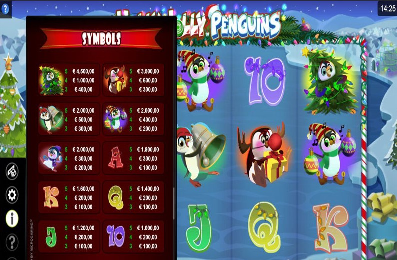 Holly Jolly Penguins Slot Paytable