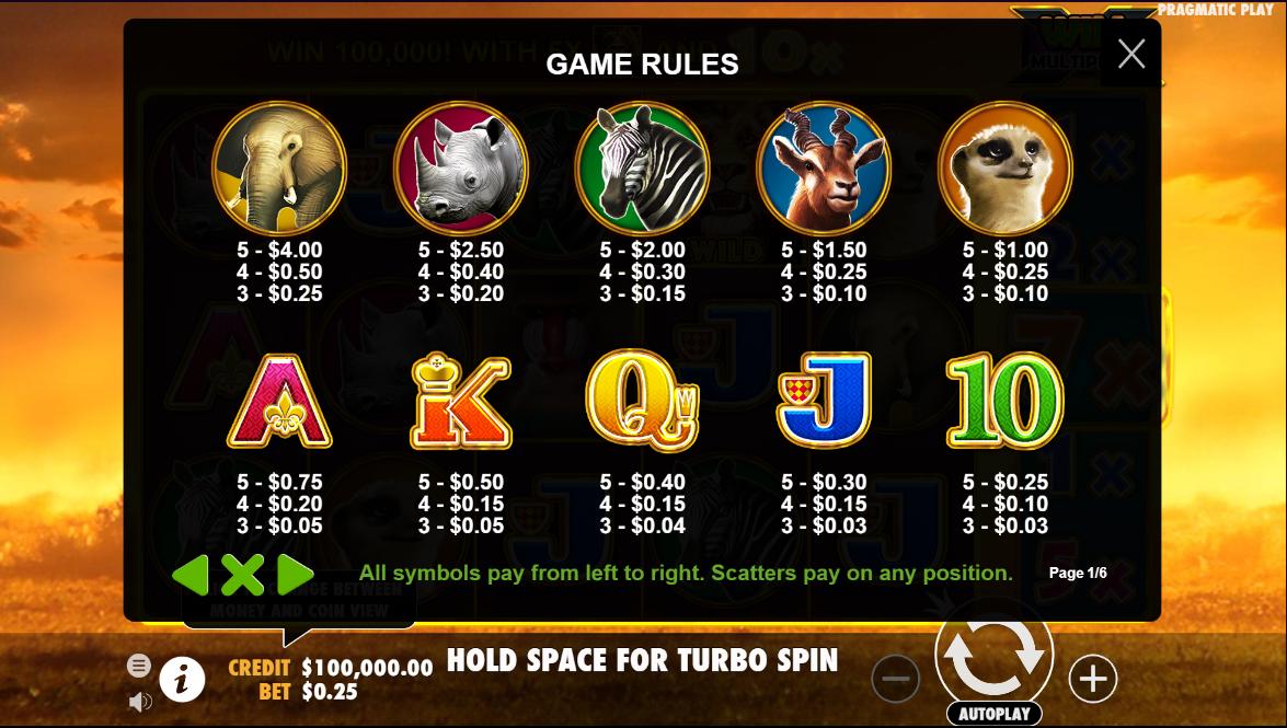 Hot Safari Slot Symbols