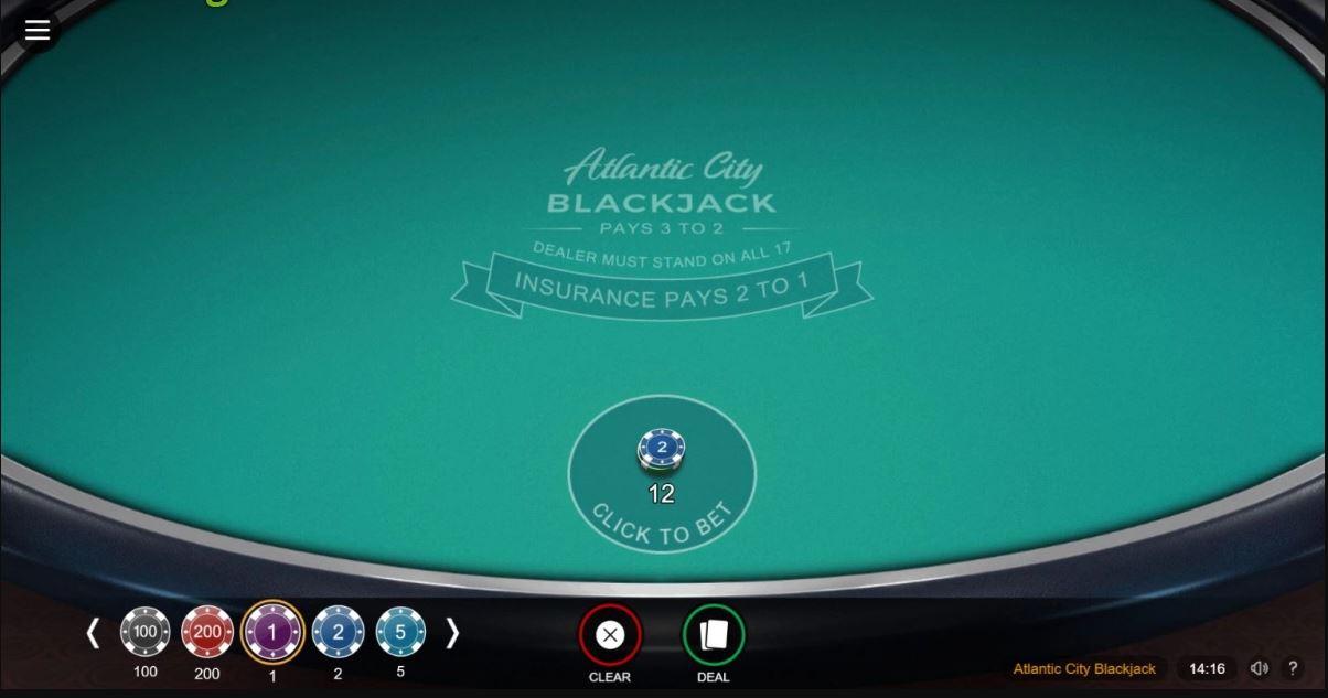 Atlantic City Blackjack Casino Game