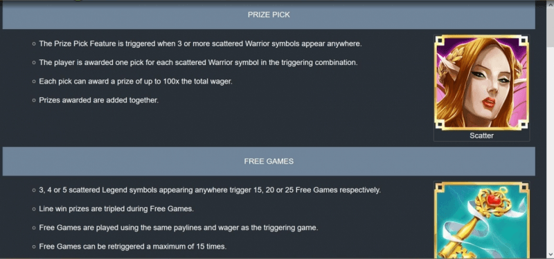 Fae Legend Warrior Slot Features
