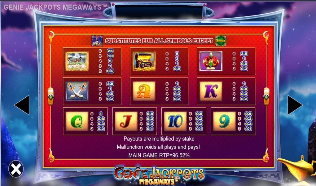 Genie Jackpots Megaways Slot Paytable