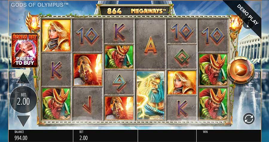 Gods Of Olympus Megaways Slots Reels