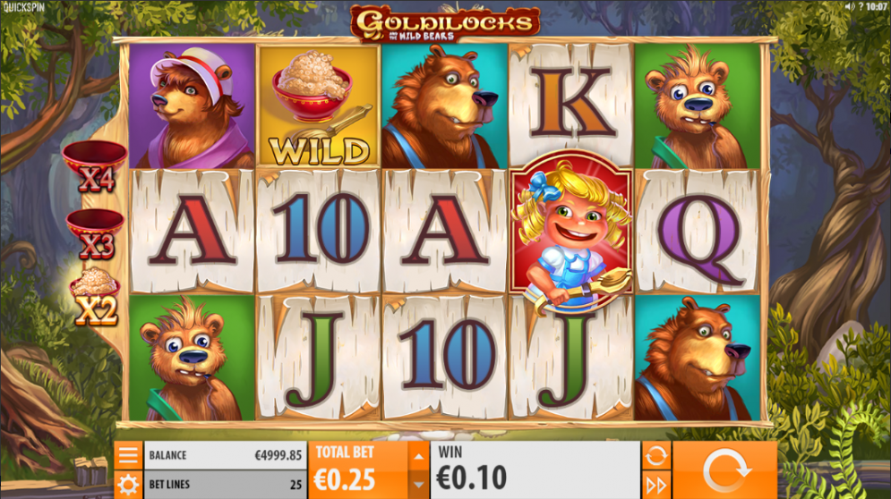Goldilocks and the Wild Bears video slot gameplay