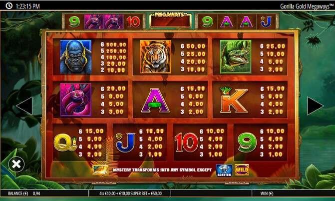 Gorilla Gold MegaWays Slots Symbols