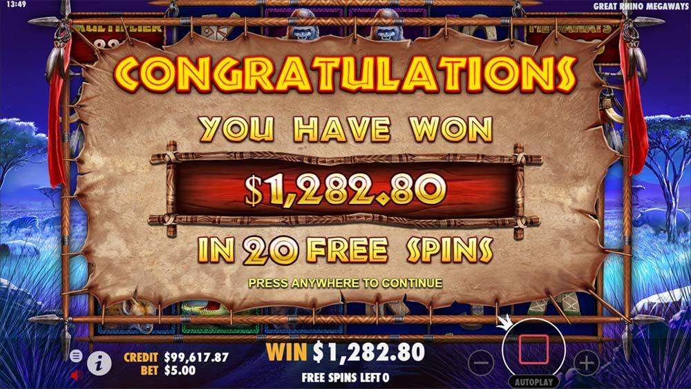 Great Rhino Megaways Slot Big Win