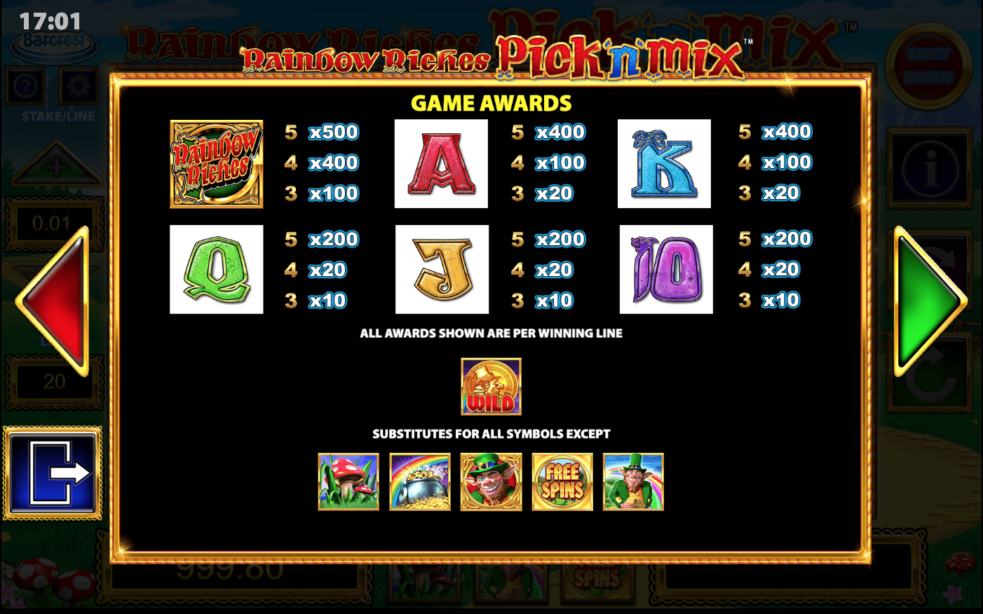 Rainbow Riches Pick n Mix Slot Symbols