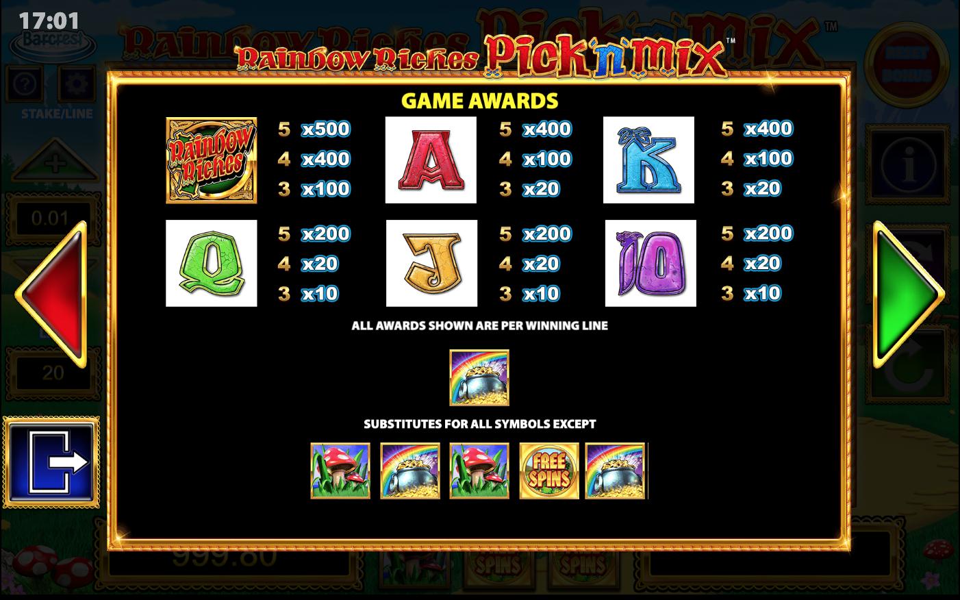 Rainbow Riches Pick n Mix Slot Symbols