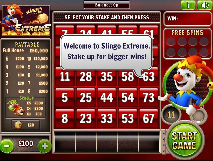 Slingo Extreme Slots Welcome Message