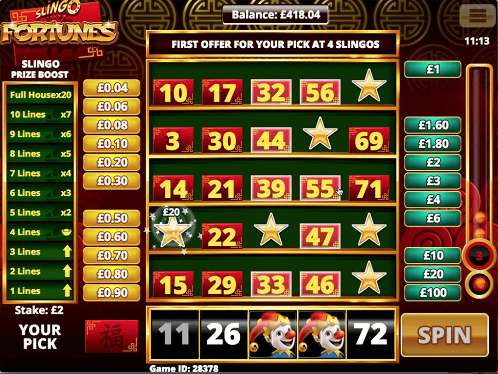 Slingo Fortunes Slots Reels