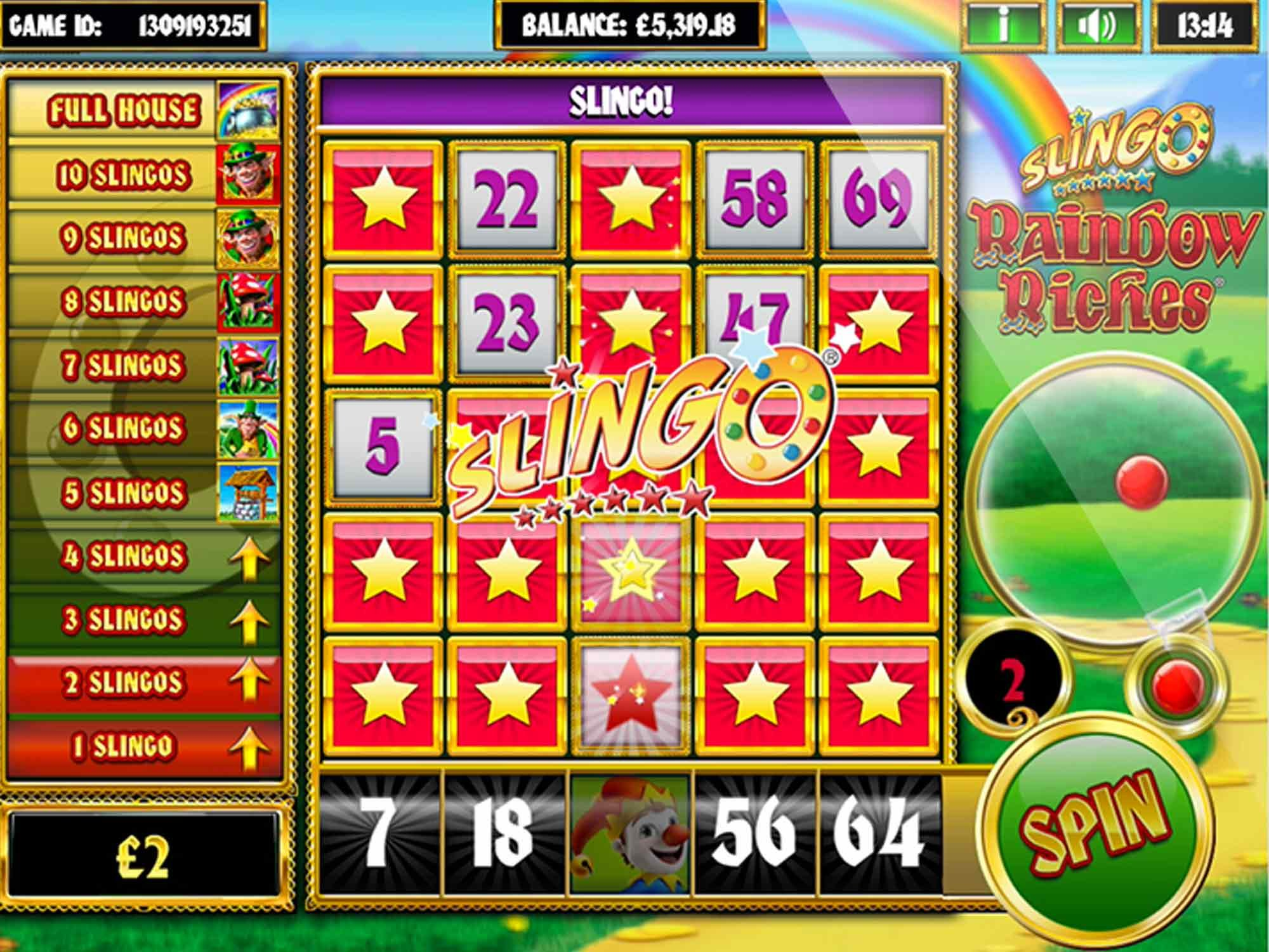 Slingo Rainbow Riches Slots Win
