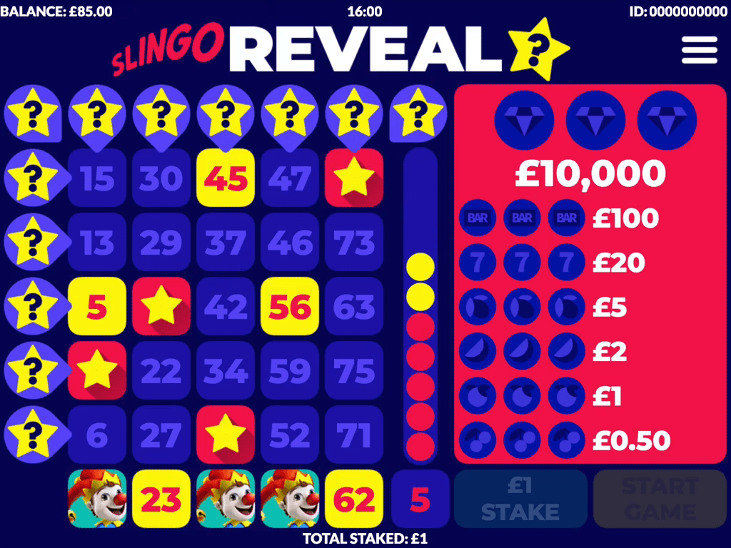 Slingo Reveal Slot Grid