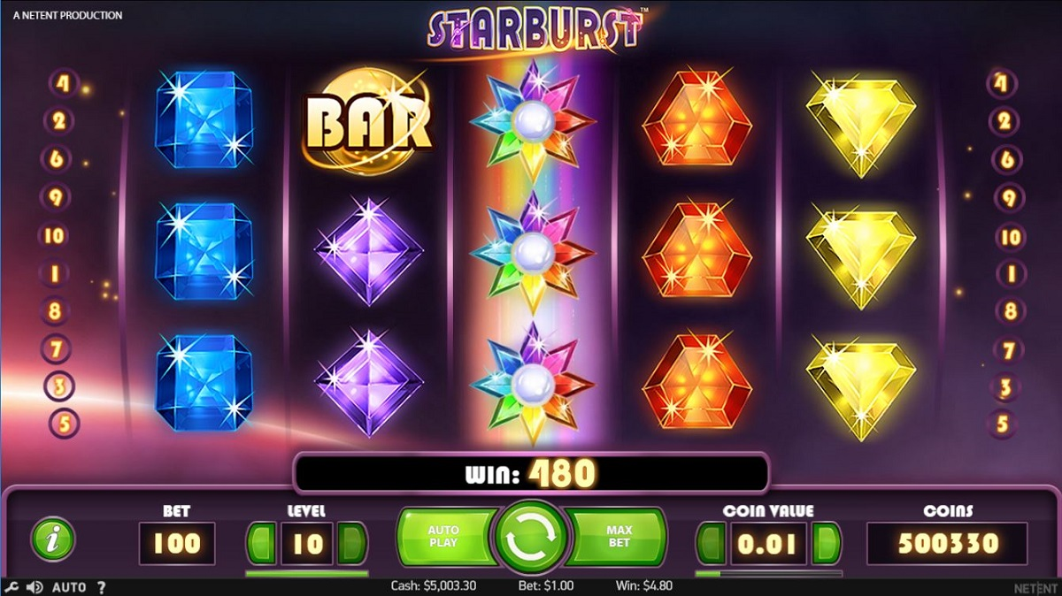 Starburst online slot gameplay