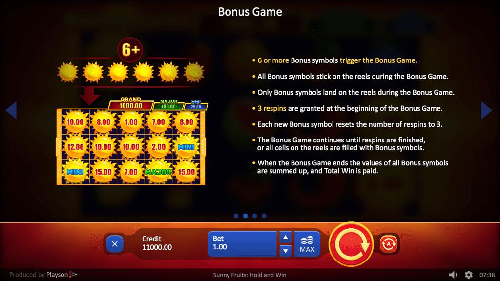 Sunny Fruits Bonus Game