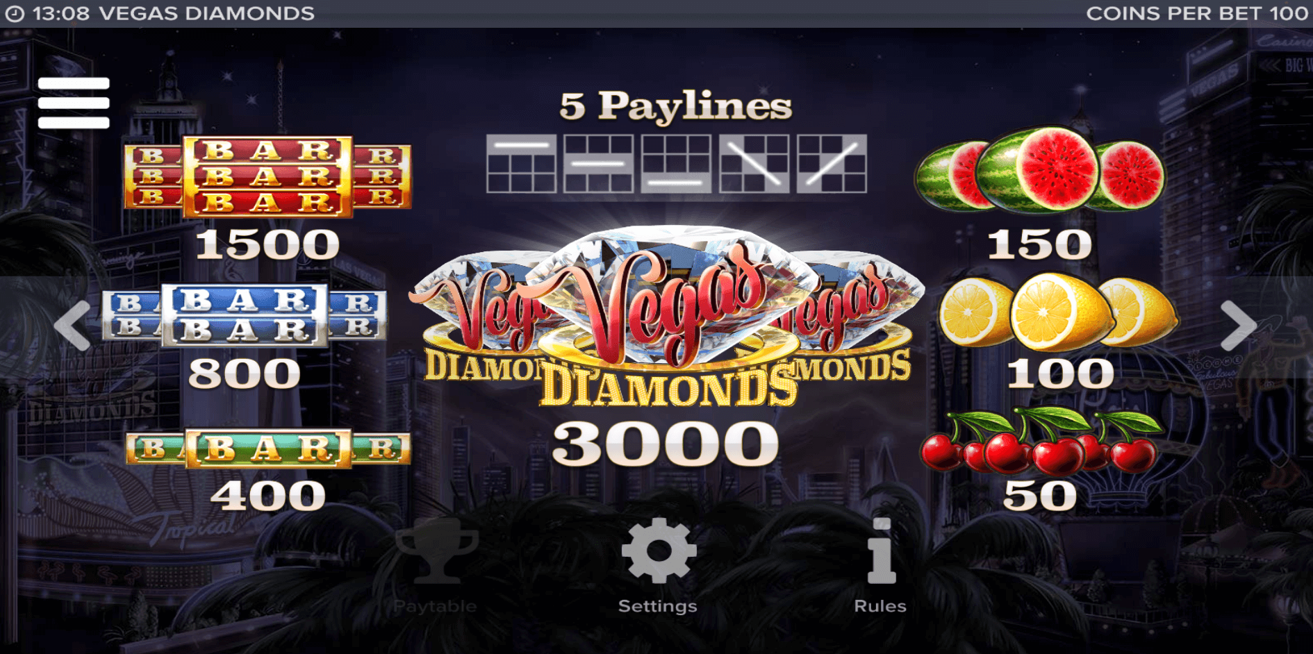 vegas diamonds slot gameplay