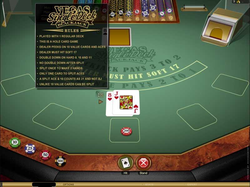 Vegas Single Deck Blackjack Game