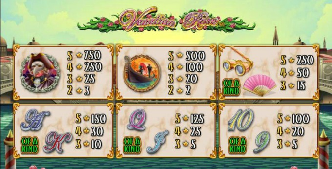 Venetian Rose Slot Paytable