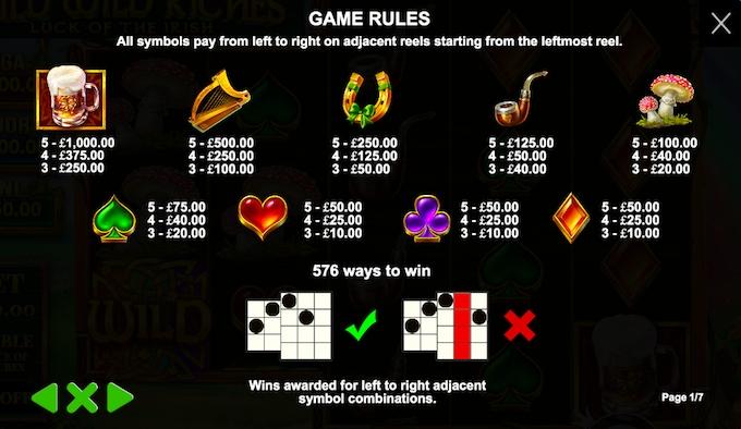 Wild Wild Riches Slot Paytable